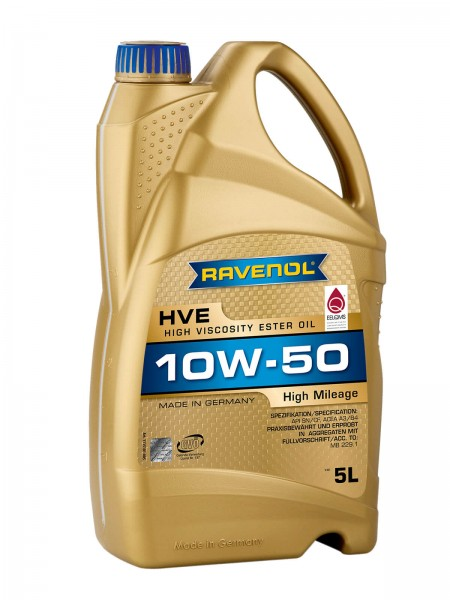 RAVENOL HVE High Viscosity Ester Oil SAE 10W-50 - 5 Liter